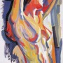 allo specchio colorato, olio su carta, 50 x 70, 1999