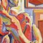 profilo maschile con ginocchio, olio su tela 40 x 60, 2002